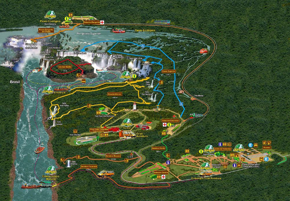 mapa del parque nacional iguazú